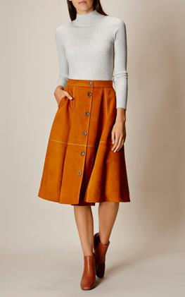 Karen Millen Button-Front Faux-Suede Skirt