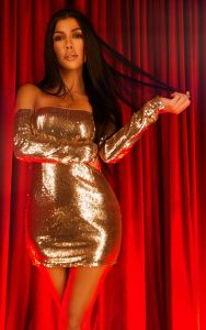 Gold Sequin Long Sleeve Bardot Bodycon Dress