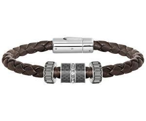 Swarovski Diagonal Bracelet Leather Gray Stainless steel