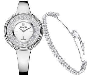 Swarovski Crystalline Pure Set, White, Silver tone White Stainless steel