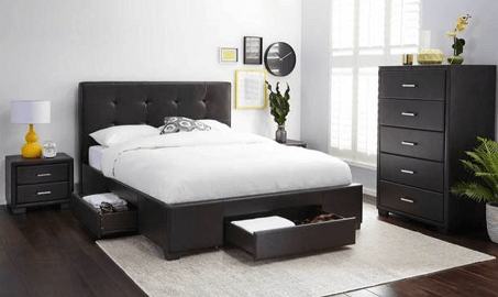 Modena Queen Bed with Storage Package