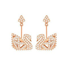 Swarovski Facet Swan Pierced Earrings, White, Rose gold plating White Rose gold-plated