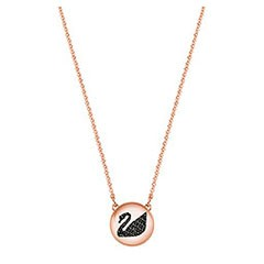 Swarovski Hall Swan Pendant, Gray, Rose gold plating Gray Rose gold-plated