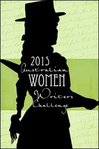 Black silhouette of an apparently female figure in a top hat on a green background (with some faint writing in the top and bottom thirds), with the words in white: 2015 Australian Women Writers Challenge