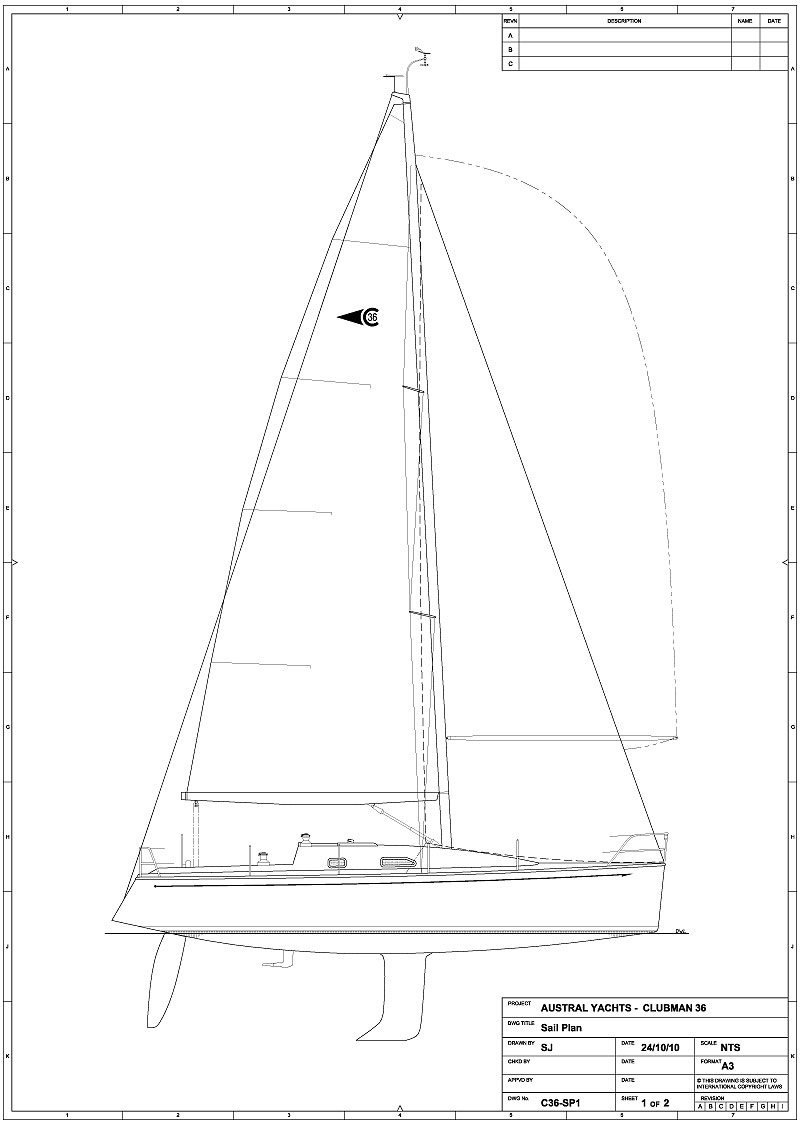hight resolution of the interior layout is centred around a fore and aft galley opposing a large settee with a centreline bolster seat sleeping accommodation is in two