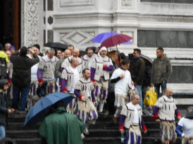 The White Team Coming Out of the Basilica di Santa Croce after the Blessing
