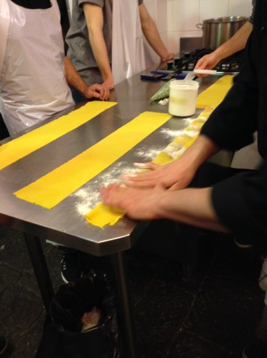 Making the Ravioli - Pressing the Dough Together and the Air Out