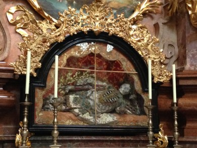 Saint Friedrich in Melk Abbey - The skeleton was a gift by Empress Maria Theresia in 1762.