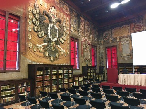 Walls are adorned in the Sala della Stabat Mater lecture hall.