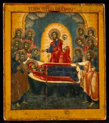 Dormition of the Most Holy Mother of God Icon, was painted circa 1740, Nevyansk School, Russia