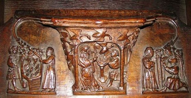Chester Cathedrals misericord scenes from St Werburgh's life
