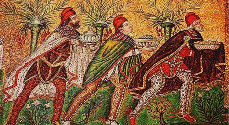 A Byzantine depiction of the Three Wise Men (526 AD) Basilica of Sant Apollinare Nuovo Ravenna Italy.