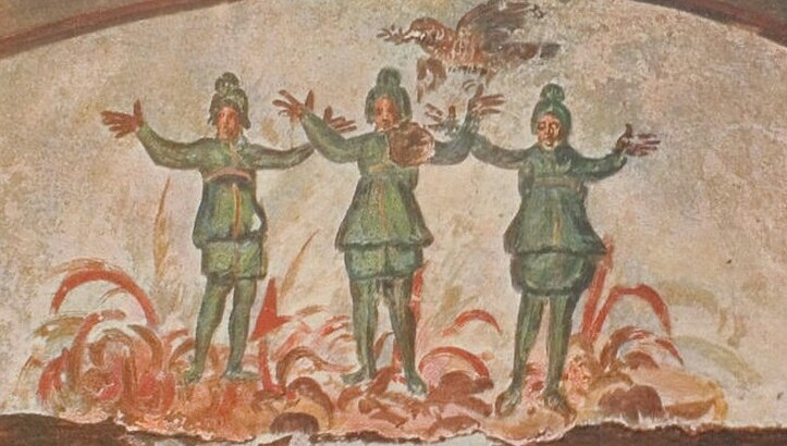 Three Youths in the furnace. Catacombs of Priscilla in Rome, circa 300 c.