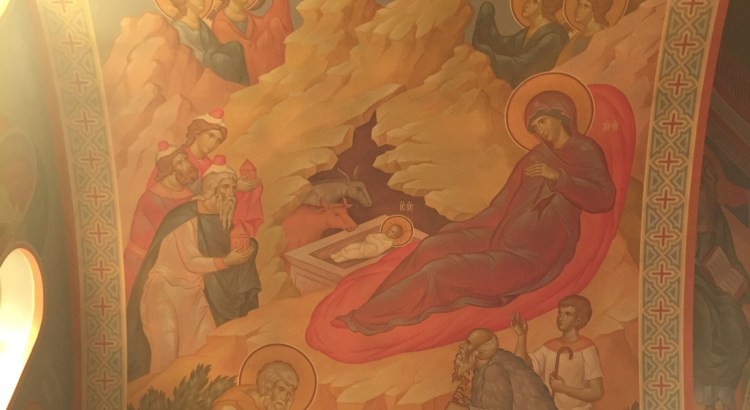 "The Nativity of Christ, fresco, Russian Orthodox Church Geelong ""Joy Of All Who Sorrow"", Geelong, Australia"