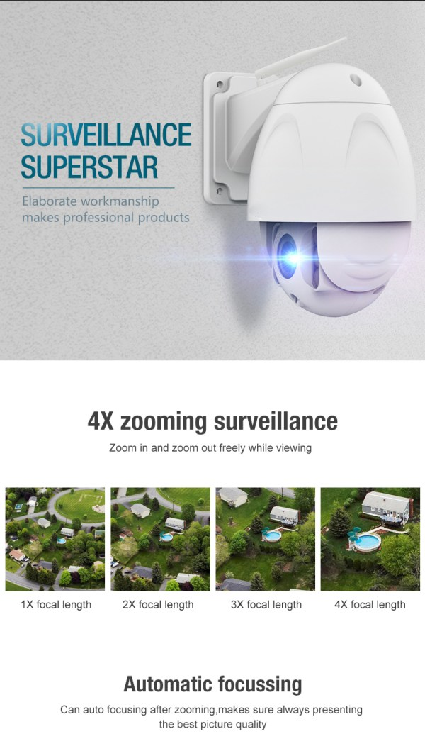 PTZ Dome Camera 4 times Zoom P2P 1080P Onvif IR 30m Full HD CCTV Outdoor Camera 4