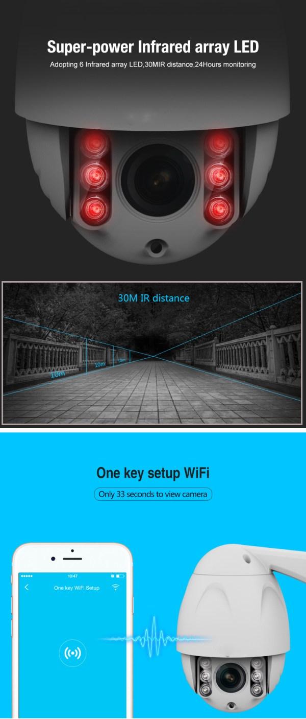 PTZ Dome Camera 4 times Zoom P2P 1080P Onvif IR 30m Full HD CCTV Outdoor Camera 8