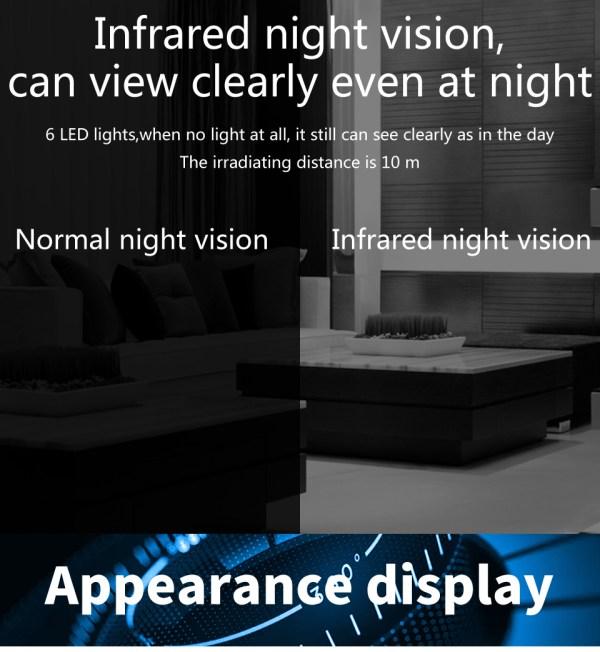 1080P CCTV Camera Day Night Mini Wifi Indoor Baby Monitor In Black 11