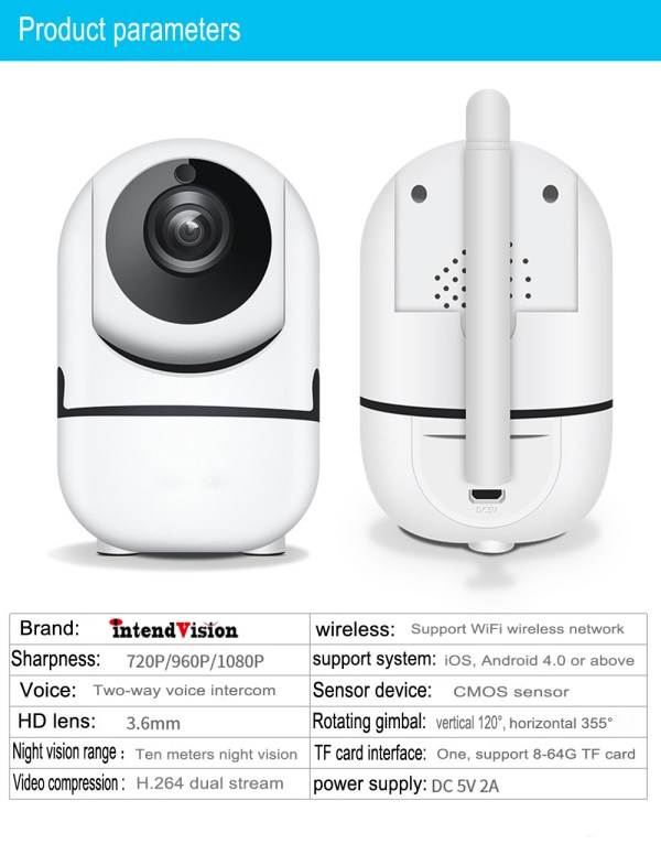 P2P IP Camera with Motion Detection Two Way Audion Wireless PT CCTV Camera 8