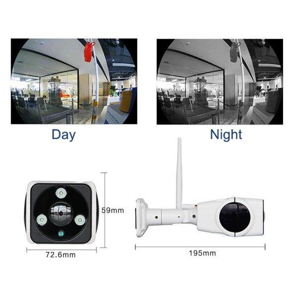 Mini Bullet IP Camera with 180 degree Panoramic Two Way Audio P2P Motion Detection 3