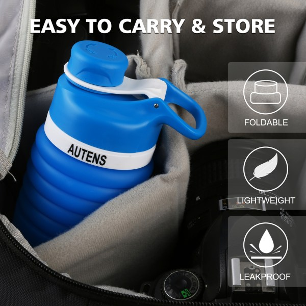 Collapsible Silicone Water Bottle Blue 550ml Auction 3
