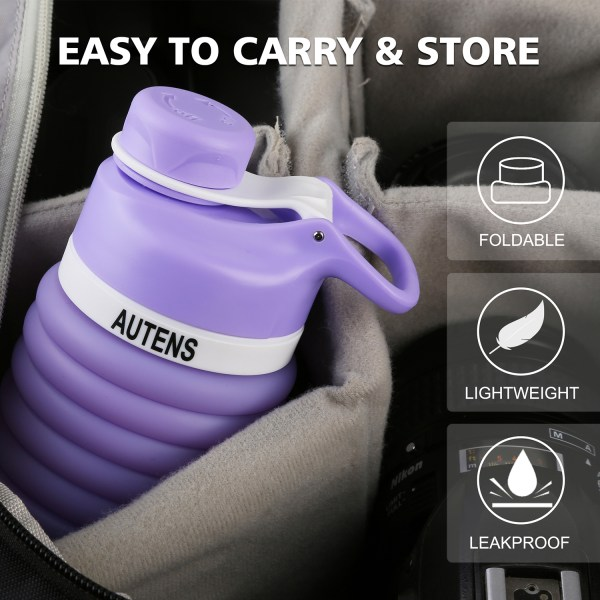 Collapsible Silicone Water Bottle Purple 550ml Auction 2