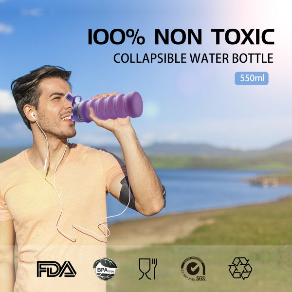 Collapsible Water Bottle 550ml, Leak Proof, BPA Free, FDA Approved, Wide Mouth, Lightweight Food-Grade Silicone 6