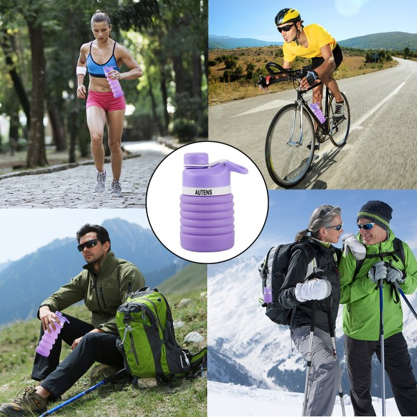 Collapsible Water Bottle 550ml, Leak Proof, BPA Free, FDA Approved, Wide Mouth, Lightweight Food-Grade Silicone 7