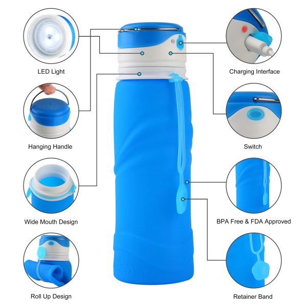 Collapsible Water Bottle BPA Free Wide Mouth 750ml with LED Light USB Charging 3 Lighting Modes 3