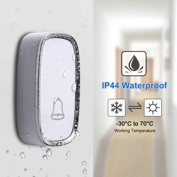 Wireless Doorbell, Waterproof Door Bells & Chimes with 36 Chimes 4 Level Volume 1000 Ft Long Range 5