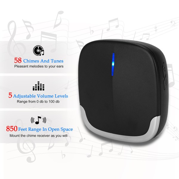 Wireless Doorbell Black for Home Classroom Business, 58 Melodies, 5 Levels Volume, 850 Ft Range 3