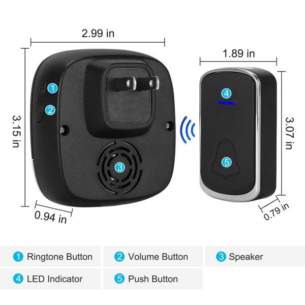 Wireless Doorbell Black for Home Classroom Business, 58 Melodies, 5 Levels Volume, 850 Ft Range 6