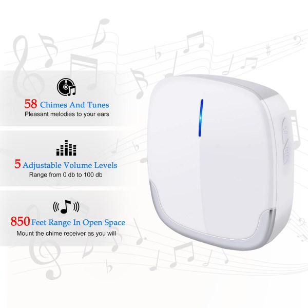 Wireless Doorbell White for Home Classroom Business with 58 Melodies 5 Levels Volume, 850 Ft Range 3