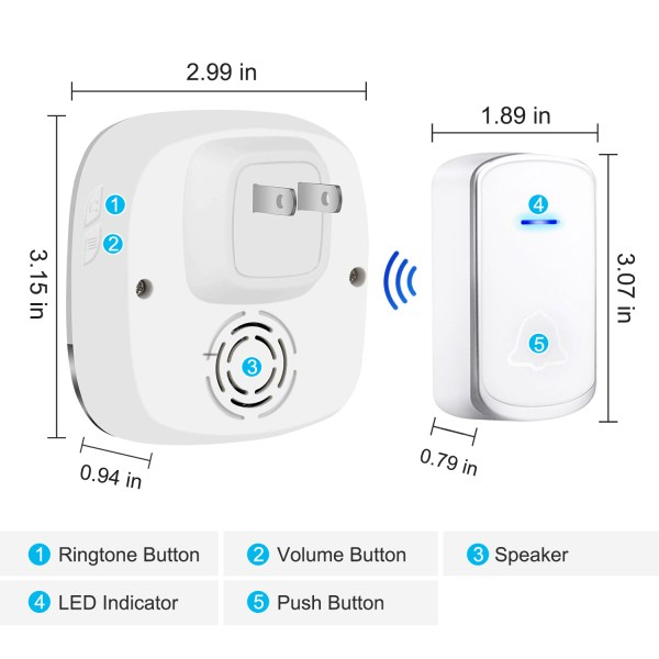 Wireless Doorbell White for Home Classroom Business with 58 Melodies 5 Levels Volume, 850 Ft Range 6
