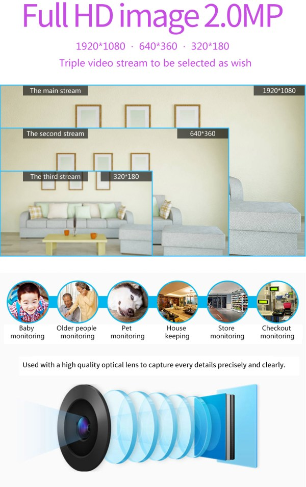 1080P Network Camera Two way Audio Motion Detection Pan Tilt Full HD Security Home Camera 4