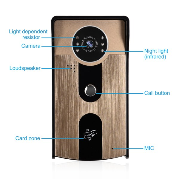 Video Intercomunicador with 7''Color Screen Support Unlock by Inclusive Card Easy Mounting on Wall 3