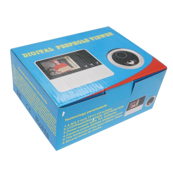 Peephole Intercom 2.8'' Digital Door Viewer with 90 degree for Door Thickness 35mm-75mm Peephole Rang 14mm 6