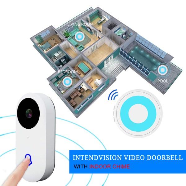 Video Doorbell Waterproof Wifi Wireless Video Intercom System with Indoor Chime Door Phone Camera 3