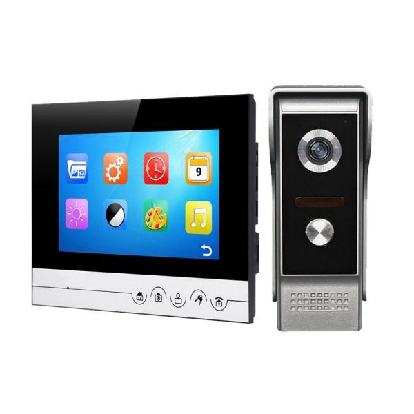 Video Intercom 7'' LCD Color Screen Wired Video Door Phone Audio Intercom with 700TVL CMOS Door Bell 1