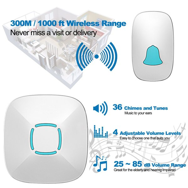 Wireless Doorbell Chime Kit with 36 Chimes & 4 Adjustable Volume 1000ft Range 5