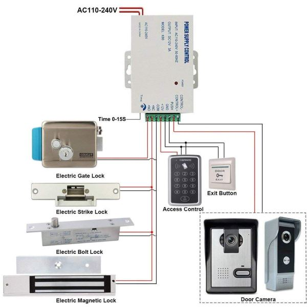 Power Supply Controller AC 110-240V to DC 12V for Door Access Control System & Video Intercom Entry 5