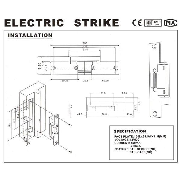 Electric Strike Door Lock for Access Control System Suitable for Wooden Door, Glass Door, Metal Door, Fireproof Door (NO-Open When Power ON) 9