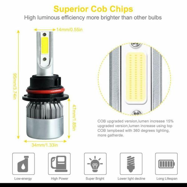 LED Car Headlight Bulb 9004/9007 26000LM 110W 6000K High Beam/Low Beam/Fog Light 2