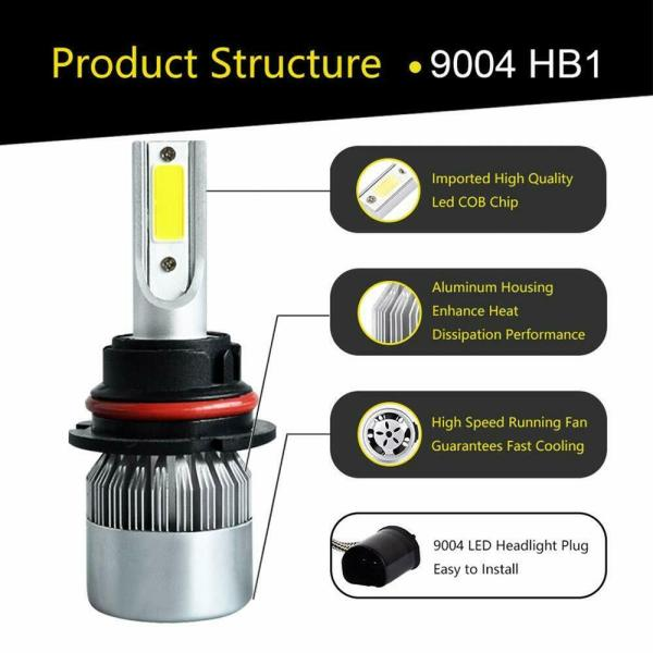 LED Car Headlight Bulb 9004/9007 26000LM 110W 6000K High Beam/Low Beam/Fog Light 6