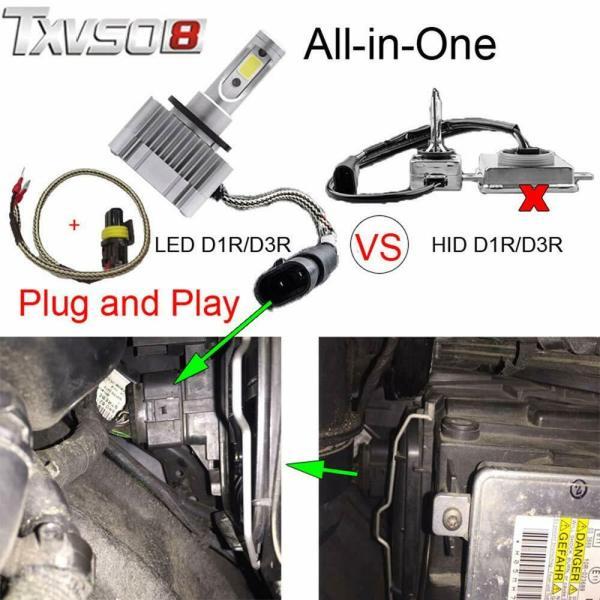 LED Replacement Bulb Diamond White 12V Car Headlight 55W 6000K D3S/D3R/D1S/D1R 5