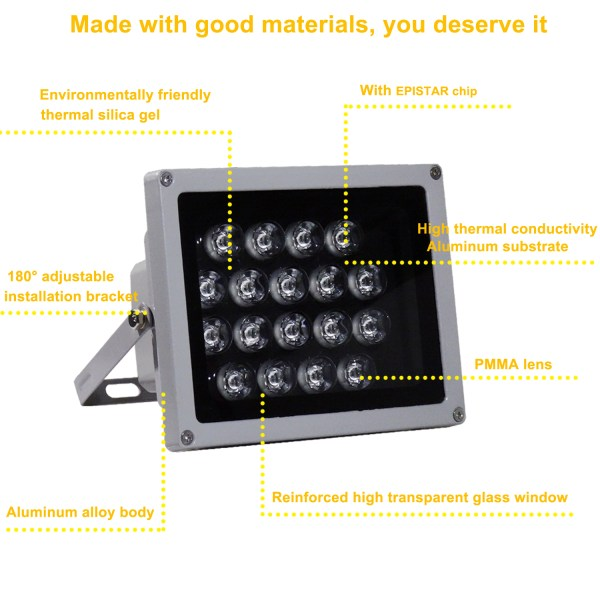 IR Illuminator 850nm 18-LED IR Infrared Light with Power Adapter for CCTV Camera (90 Degree) 4