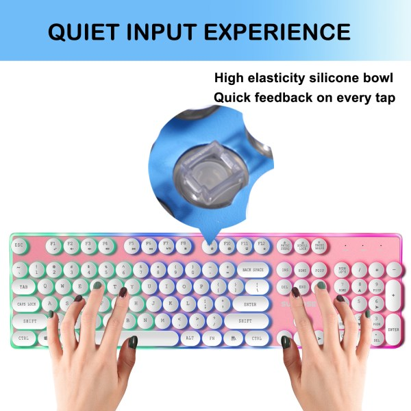 Gaming Keyboard Mechanical Feeling USB Wired RGB Colorful Backlight 104 Key for PC Mac Laptop 5