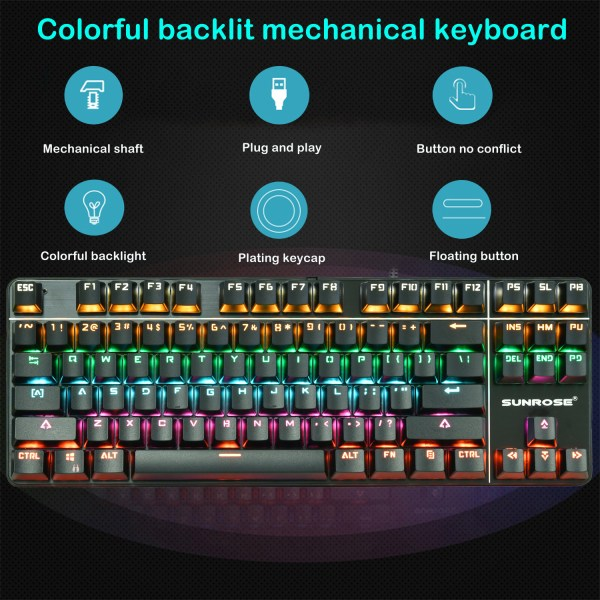 Mechanical Gaming Keyboard 87 Keys Small Compact Rainbow Backlit Spill-Resistant Keyboard USB Wired 3
