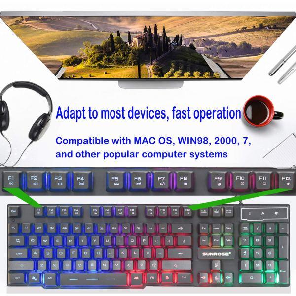 Gaming Keyboard Mechanical Feeling USB Wired Rainbow Backlight Standard 104 Key 2