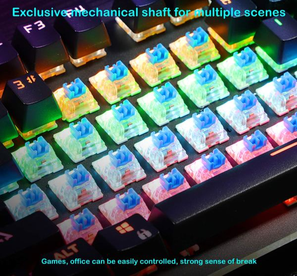 Mechanical Gaming Keyboard Rainbow LED Backlit USB Wired Keyboard with Aluminum Alloy Panel, Blue Switch 8