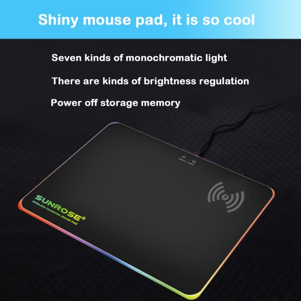 RGB Mouse Pad Qi 10W Fast Wireless Phone Charging LED Backlit Gaming Mouse Mat 7